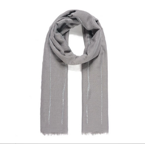 Grey Abstract Line Glitter Scarf