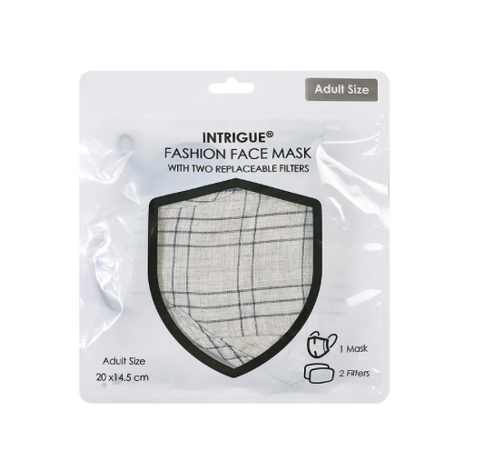 Grey Check Face Mask with Filter