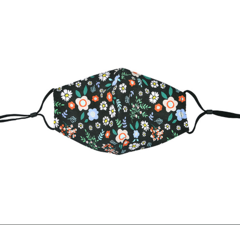Black Multi Floral Face Mask