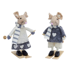 Felt Skiing Christmas Mice Decoration