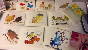 6 Assorted Animal/flower original watercolour cards & envelopes