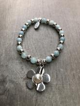 Beaded Pale Blue Daisy Bracelet