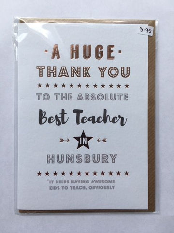 Hunsbury thank-you teacher card