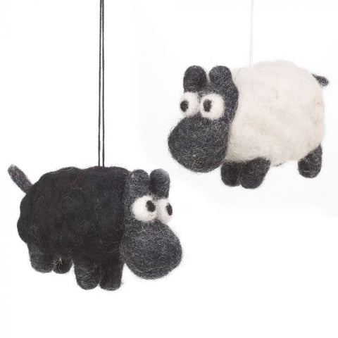 Handmade Biodegradable Felt WHITE Sheep Hanging Decoration