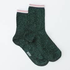 Green metallic socks