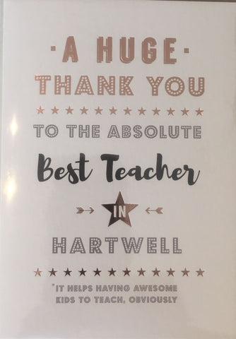 Hartwell thank-you teacher card