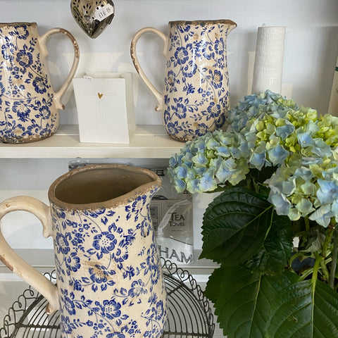 New blue jugs and plant pots