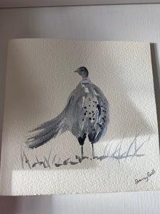 Pheasant grey original watercolor card