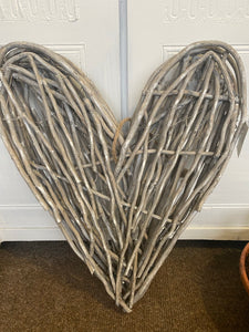 Fabulous grey wicker heart 55cm x 41cm approx