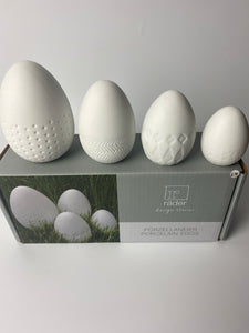 Gorgeous set of 4 white China eggs