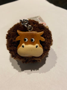 Cow wooden Pom Pom key ring