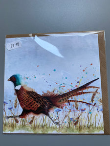 Pheasant design card UK made