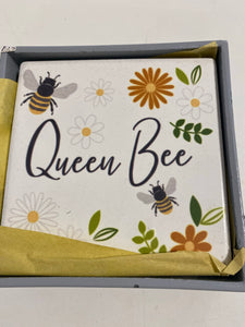 Set of 4 bee china coasters