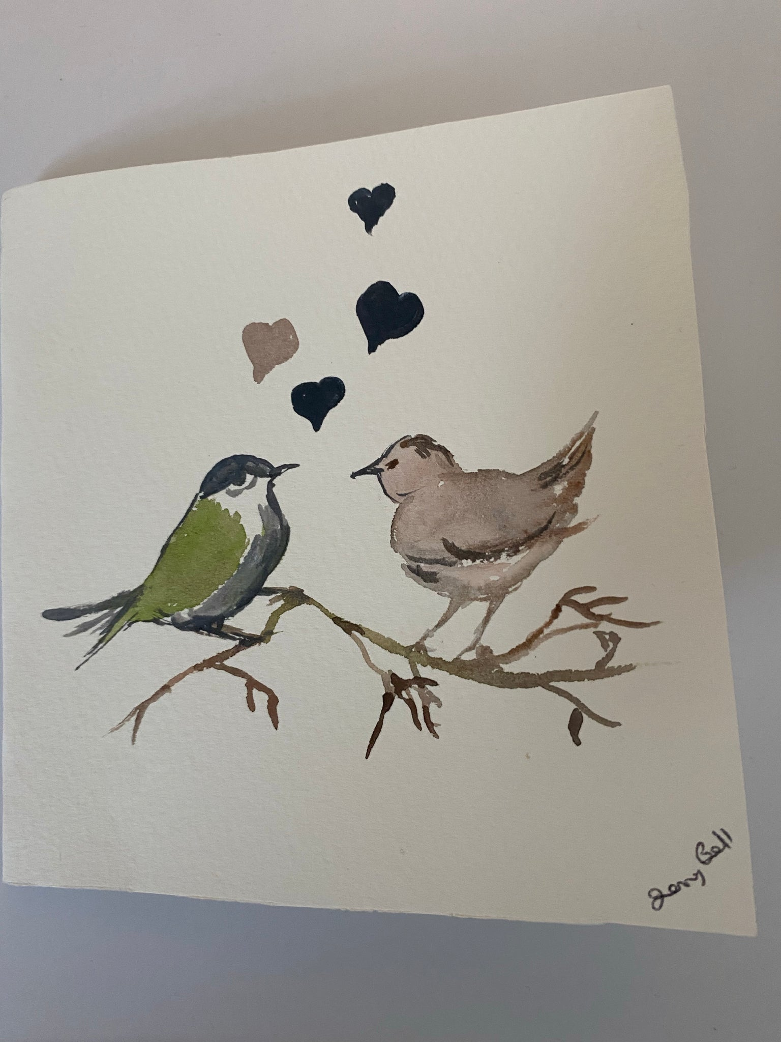 Valentine bird card original watercolour