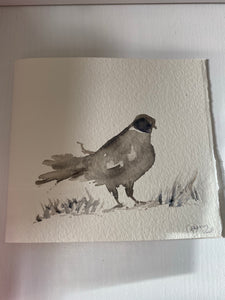 Pheasant original watercolor grey card