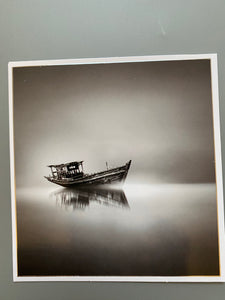 Boat black and white card