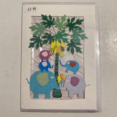 Handmade card elephants