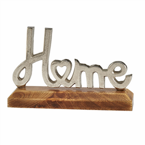 Silver Metal Home Sign on Wooden Base