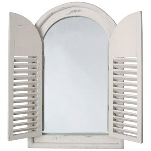 Shabby Chic Style Wooden Arched Garden Glass Mirror With Shutters