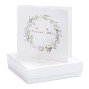Boxed Special Mum Wreath Earring Card