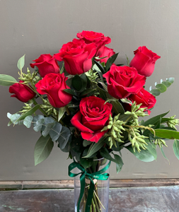 Valentine Vase Flower arrangement with foliage
