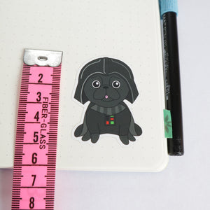 Star Pug Sticker - Black