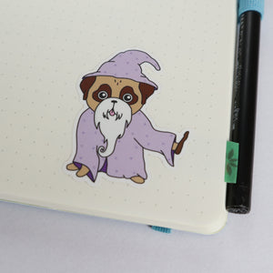 Old Wizard Pug Sticker