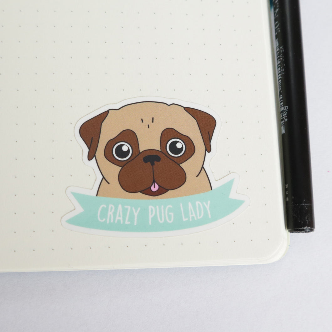 Crazy Pug Lady Sticker - Fawn