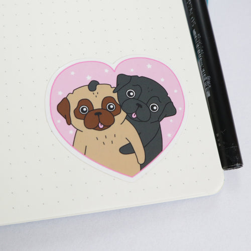 Heart Love Pugs Sticker