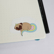Sleepy Unicorn Pug Sticker - Fawn