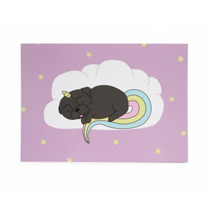 Sleepy Unipug Card Black - A6