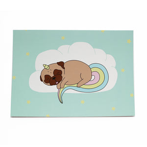 Sleepy Unipug Card Fawn - A6