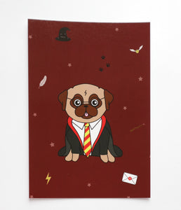 Wizard Pug Card - A6