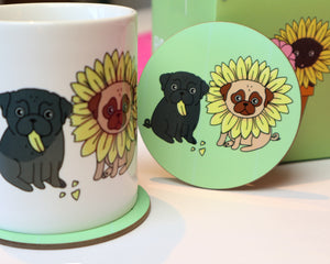 SALE - Flower Pugs Coaster
