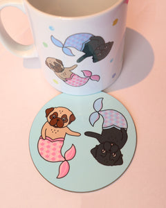 Merpugs Coaster