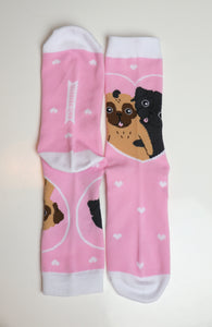 Pug Socks Pink | One Size Knitted
