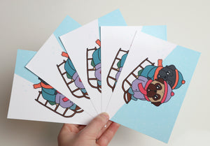 Sleigh Riding Pugs - A6