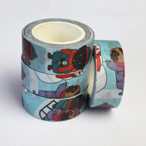 Washi Tape Pugs, Winter