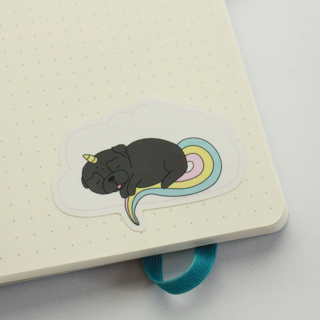 Sleepy Unicorn Pug Sticker - Black