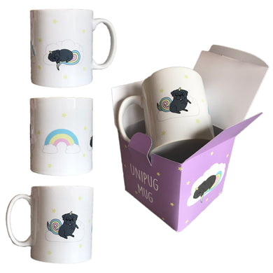 SALE - Black Pug Mug Unicorn