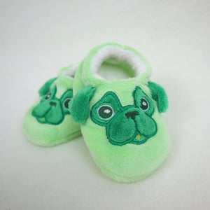 Baby Pug Slippers Handmade Green