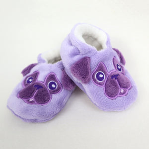 Baby Pug Slippers Handmade Purple