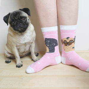 SALE - Pug Socks Pink | One Size Knitted
