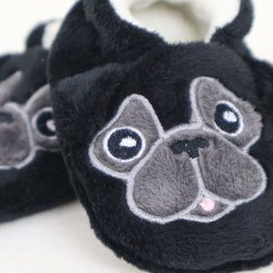 Baby Pug Slippers Handmade Black