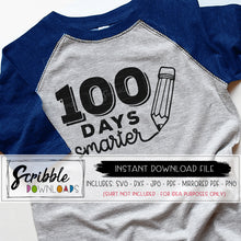 100 days of school svg one hundred days smarter svg dxf pdf png jpg instant digital download cricut silhouette cut file vinyl craft project clipart school teacher student svg hand drawn cute popular free commercial use diy shirt iron on transfer 100 days