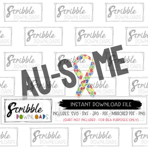 AUTISM AWARENESS SVG DXF GRAPHIC AU-SOME WITH RIBBON PUZZLE GENDER NEUTRAL