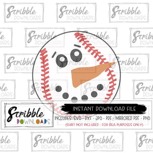 baseball snowman SVG clipart digital download printable iron on shirt DIY craft easy fast safe secure free commercial use Snowman snow boy girl kids sport sports coach fan mom player mama team baseball softball winter holiday cricut silhouette design space HTV vinyl cut file popular best seller pinterest cute