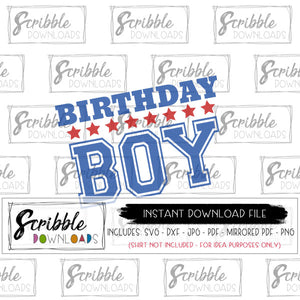 birthday boy generic stars red and blue cute boy party shirt iron on silhouette cricut cute popular easy DIY