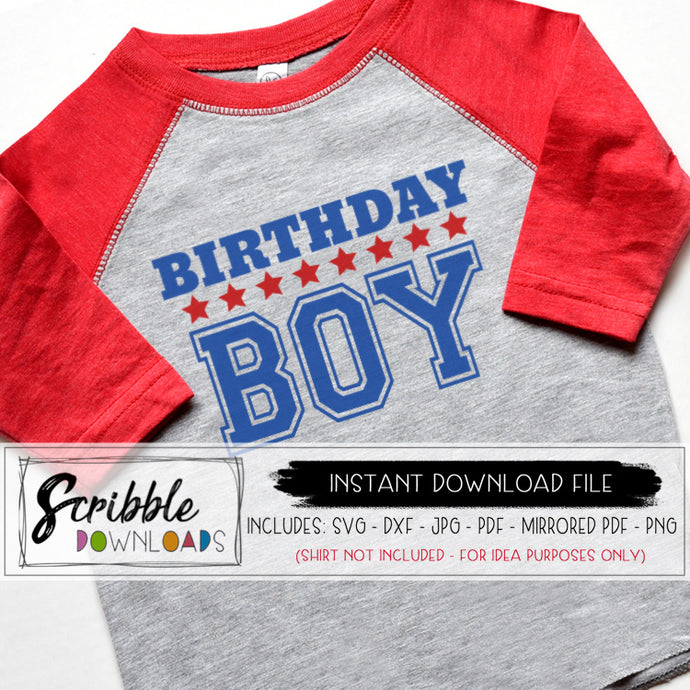 Birthday Boy Stars and athletic style cricut silhouette cut file vinyl vector graphic scrapbook easy to use iron on transfer printable digital download instant graphic clipart