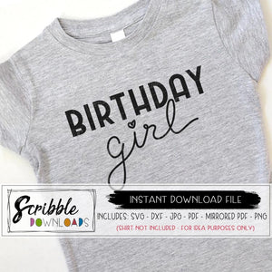 birthday girl hand drawn SVG DXF PDF PNG JPG Silhouette Cricut design space cut file easy to use craft heat transfer vinyl file digital download popular cute 2 3 4 5 6 7 8 9 10 11 12 20 30